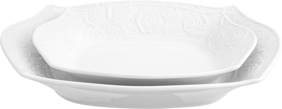 Набор блюд Elan Gallery Белые розы, 2 предмета блюдо для горячего elan gallery белый шиповник 42 х 22 5 см