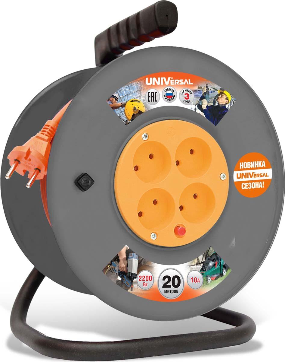 """Удлинитель UNIVersal """"ВЕМ-250"""", на катушке, с термовыключателем, ПВС 2 х 1, 4 гнезда, 20 м"""