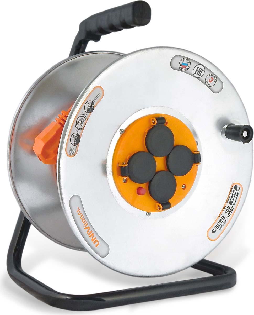 """Удлинитель UNIVersal """"У16-041"""", на катушке, с термовыключателем, с заземлением, ПВС 3 х 1,5, 4 гнезда, 40 м"""