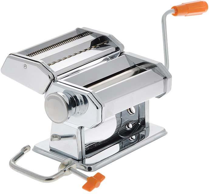 """Спагетница Bradex """"Феттуччине"""", выполненная из первоклассной нержавеющей стали, поможет вам приготовить  домашние спагетти. Требуется сначала раскатать приготовленное тесто, а затем пропустить его через насадку  для нарезки. Толщина спагетти регулируется специальным колесиком, а ее ручной механизм не нуждается в  электричестве или батарейках. Благодаря спагетнице можно изготовить различные типы макаронных изделий, в  зависимости от ваших вкусовых предпочтений. Изделие имеет 6 положений толщины теста и 2 положения ширины  лапши при резке.  В комплекте - инструкция по приготовлению теста и использованию машинки. Нельзя мыть изделие под водой и в посудомоечной машине. Размер спагетницы (без учета ручки): 20 см х 21 см х 14,5 см. Минимальная толщина получаемых спагетти: 0,2 мм. Максимальная толщина получаемых спагетти: 9 мм."""