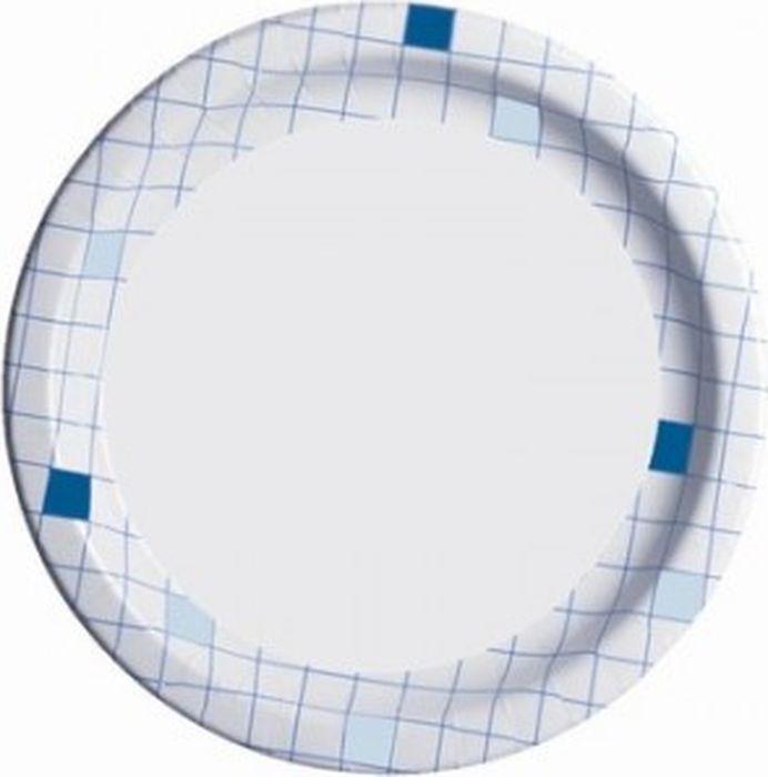 "Набор одноразовых бумажных тарелок ""Huhtamaki"", цвет: белый, синий, диаметр 23 см, 50 шт"