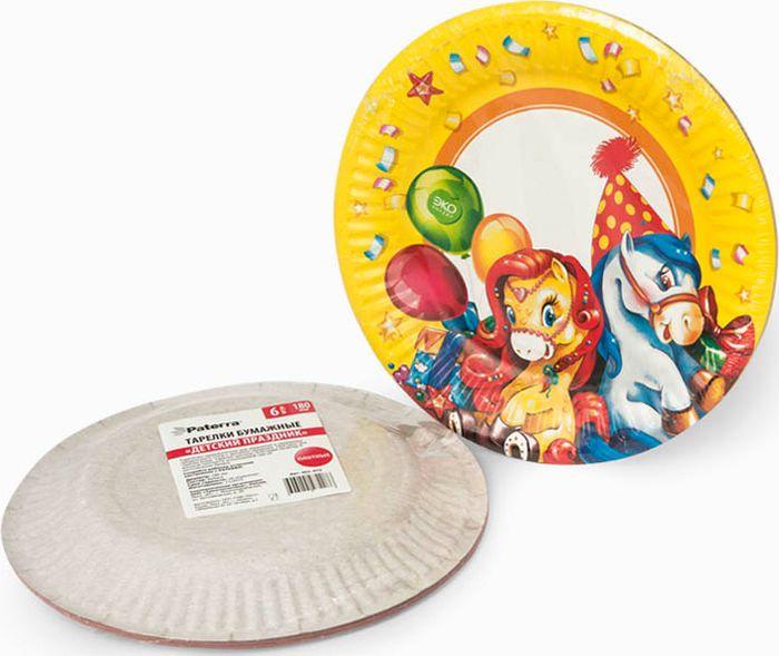 """Тарелки Paterra """"Детский праздник"""" предназначены для украшения и сервировки стола во время мероприятий дома, в офисе, на даче, на пикнике. Пригодны для горячих блюд. Тарелки прочные, благодаря качеству и высокой плотности используемой при их изготовлении бумаги. Диаметр тарелки: 18 см. Количество в упаковке: 6 шт."""