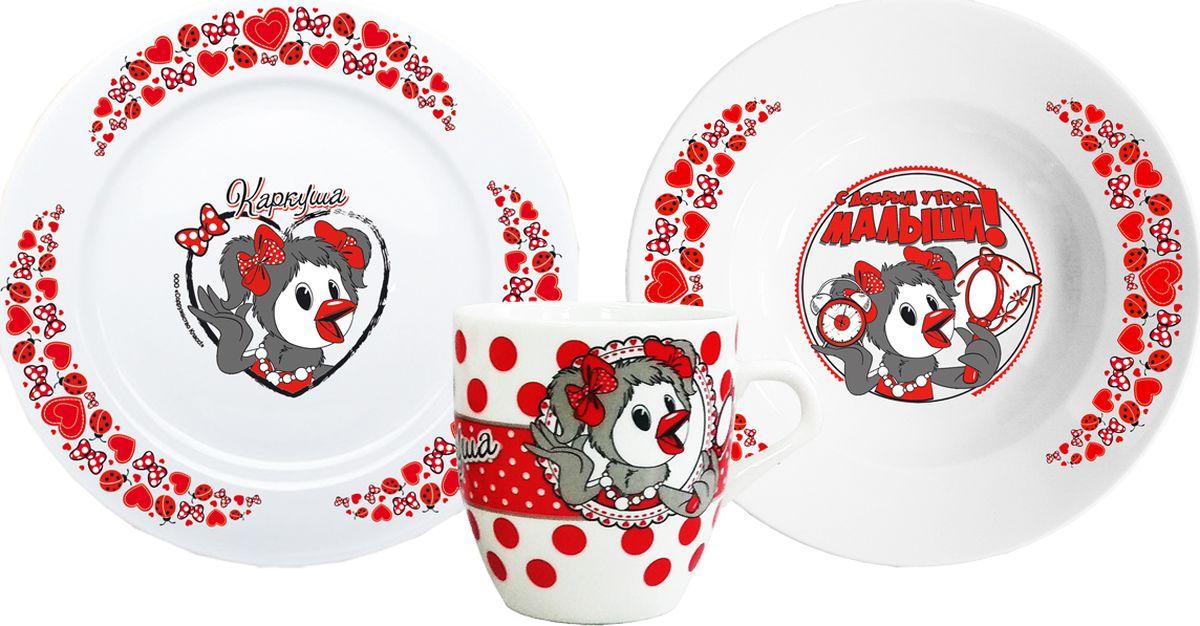 Оптимальный набор фарфоровой посуды из 3х предметов с персонажем известных детских телепередач - Каркуша. В наборе 2 тарелки 20 см - глубокая для супа и мелкая для вторых блюд, кружка 270 мл удобной формы. Произведено в России. Можно мыть в посудомоечной машине.