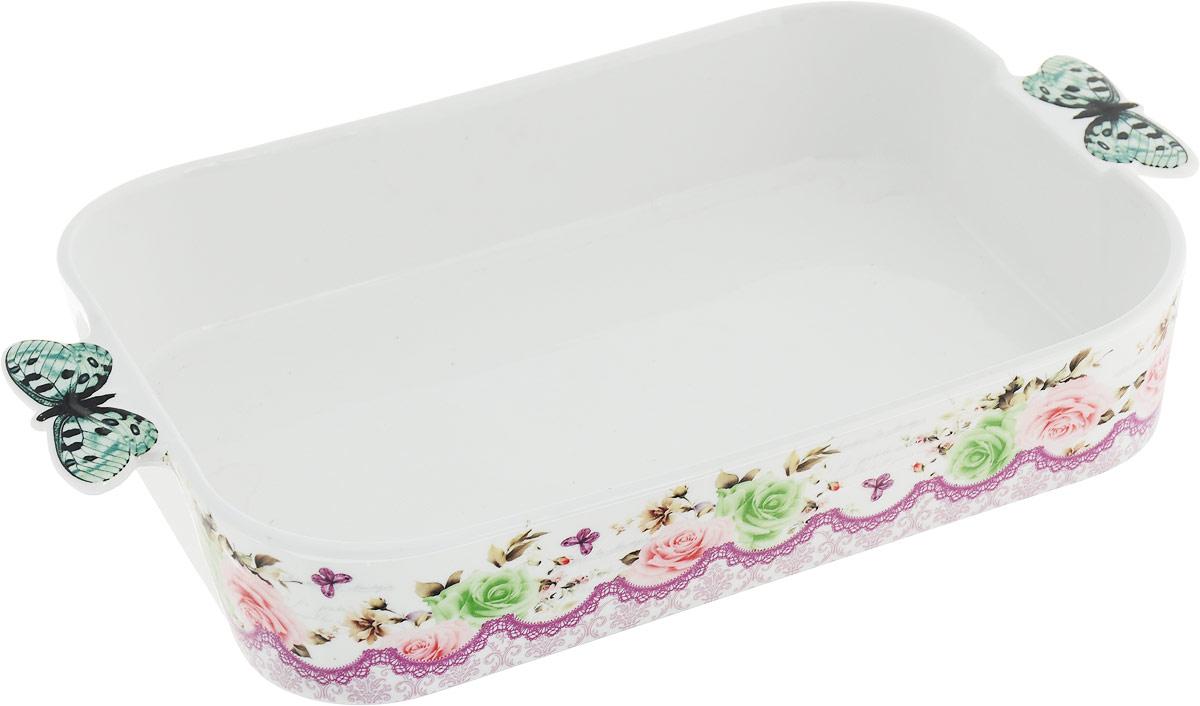 Блюдо-шубница Miolla Бабочки, прямоугольное, 35,5 см блюдо шубница корейская роза 29 18 5 см