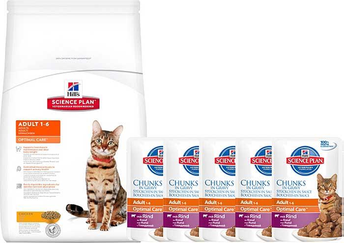 """Корм сухой Hill's """"Science Plan Optimal Care"""" для взрослых кошек, с курицей, 10 кг + ПОДАРОК: паучи с говядиной х 16 шт"""