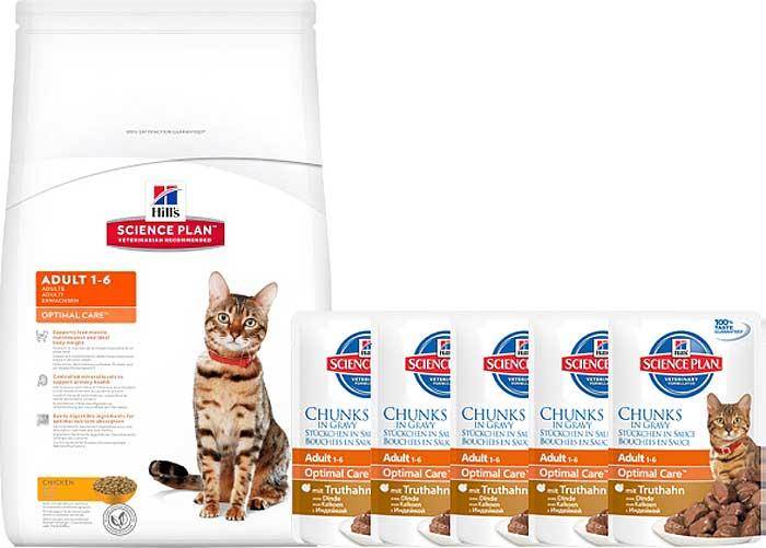 """Корм сухой Hill's """"Science Plan Optimal Care"""" для взрослых кошек, с курицей, 10 кг + ПОДАРОК: паучи с индейкой х 16 шт"""