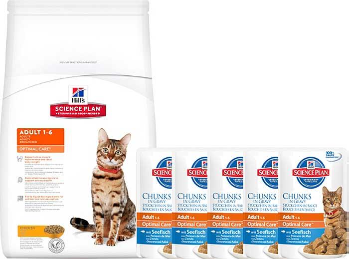 """Корм сухой Hill's """"Science Plan Optimal Care"""" для взрослых кошек, с курицей, 10 кг + ПОДАРОК:паучи с океанической рыбой х 16 шт"""
