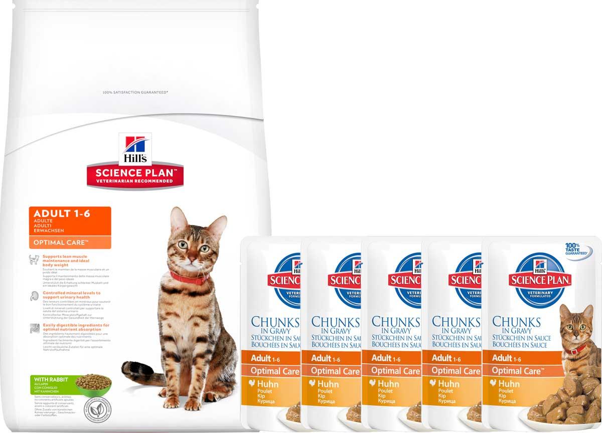 """Корм сухой Hill's """"Science Plan Optimal Care"""" для взрослых кошек, с кроликом, 10 кг + ПОДАРОК:паучи с курицей х 16 шт"""