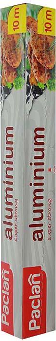 """Фольга """"Paclan"""", изготовленная из алюминия, предназначена для хранения и упаковки продуктов, а также приготовления блюд в духовке или на гриле. Она сохраняет витамины и микроэлементы, естественную свежесть, вкус и аромат пищевых продуктов. Не рекомендуется использовать для хранения влажных, кислых или соленых продуктов.            Характеристики:  Материал:  алюминий. Размер:  10 м. Размер упаковки:  31 см х 4 см х 4 см. Производитель:  Польша. Артикул:  13334."""