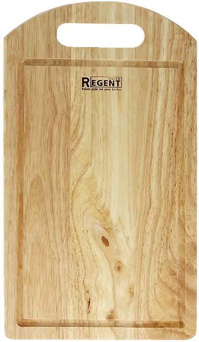 """Прямоугольная разделочная доска """"Regent Inox"""" изготовлена из высококачественной древесины - гевеи. Доска имеет углубление для стока жидкости вдоль края и специальное отверстие, при помощи которого ее можно подвесить в удобном месте. Прекрасно подходит для приготовления и сервировки пищи.Гевея - высококачественная порода каучукового дерева. Доски из гевеи, по сравнению с досками, изготовленными из других материалов, обладают следующими преимуществами:  - долговечность  - практичность  - устойчивость к механическим нагрузкам  - водоотталкивающие свойства  - не впитывают запахи  - не расслаиваются и не рассыхаются  - не тупят ножи  - оригинальный дизайн. На кухне рекомендуется иметь несколько досок, для различных продуктов: для мяса и птицы, для рыбы, для готовых продуктов, для хлеба, овощей и фруктов. Regent Inox предлагает на выбор несколько размеров и форм разделочных досок, а так же кухонные аксессуары из дерева. Характеристики:Материал: гевея. Размер:  36 см х 20 см х 1,2 см. Артикул:  93-BO-1-05."""