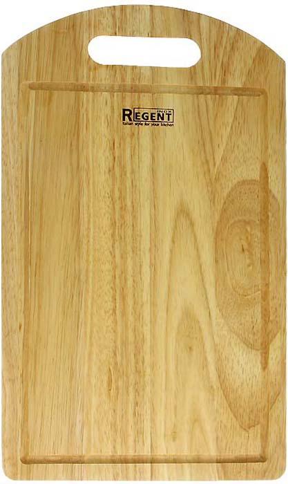 """Прямоугольная разделочная доска """"Regent Inox"""" изготовлена из высококачественной древесины - гевеи. Доска имеет углубление для стока жидкости вдоль края и специальное отверстие, при помощи которого ее можно подвесить в удобном месте. Прекрасно подходит для приготовления и сервировки пищи.Гевея - высококачественная порода каучукового дерева. Доски из гевеи, по сравнению с досками, изготовленными из других материалов, обладают следующими преимуществами:  - долговечность  - практичность  - устойчивость к механическим нагрузкам  - водоотталкивающие свойства  - не впитывают запахи  - не расслаиваются и не рассыхаются  - не тупят ножи  - оригинальный дизайн. На кухне рекомендуется иметь несколько досок, для различных продуктов: для мяса и птицы, для рыбы, для готовых продуктов, для хлеба, овощей и фруктов. Regent Inox предлагает на выбор несколько размеров и форм разделочных досок, а так же кухонные аксессуары из дерева. Характеристики:Материал: гевея. Размер:  40 см х 23 см х 1,2 см. Артикул:  93-BO-1-06."""