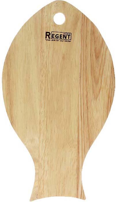 """Разделочная доска Regent Inox """"Рыба"""", выполненная из гевеи, прекрасно подойдет для приготовления и сервировки пищи. Доска идеально подходит для разделки мяса, рыбы и нарезки любых продуктов. Она выполнена в форме рыбы и имеет специальное отверстие, при помощи которого ее можно подвесить в удобном месте.   Гевея - высококачественная порода каучукового дерева. Доски из гевеи, по сравнению с досками, изготовленными из других материалов, обладают следующими преимуществами:  - долговечность  - практичность  - устойчивость к механическим нагрузкам  - водоотталкивающие свойства  - не впитывают запахи  - не расслаиваются и не рассыхаются  - не тупят ножи  - оригинальный дизайн. На кухне рекомендуется иметь несколько досок, для различных продуктов: для мяса и птицы, для рыбы, для готовых продуктов, для хлеба, овощей и фруктов. Regent Inox предлагает на выбор несколько размеров и форм разделочных досок, а так же кухонные аксессуары из дерева. Характеристики:Материал: гевея. Размер:  32 см х 18 см х 1,2 см. Артикул:  93-ВО-1-09."""