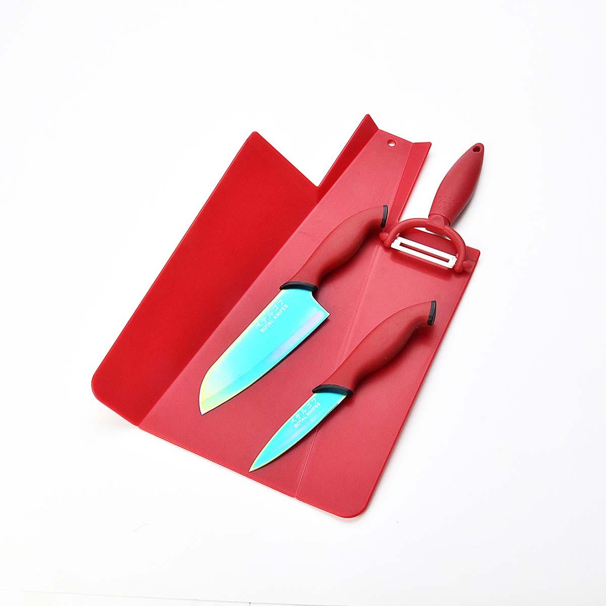 407 Набор ножей с антибактериальным покр+овощ.с керамич.лезвием+доска разд. пласт. 4пр. 21579 кухонный набор 4пр гуси 906510