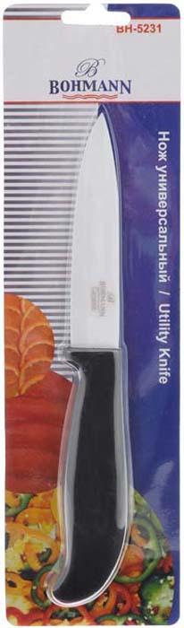"""Нож """"Bohmann"""" изготовлен из высококачественной керамики белого цвета. Такой  нож отлично подходит для нарезки мяса, измельчения овощей, трав и кореньев.  Керамическая поверхность значительно улучшает гигиенические свойства ножа и  уменьшает процесс окисления, помогая сохранить полезные свойства продукта. Он  очень легкий и абсолютно не ржавеет. Эргономичная рукоятка ножа выполнена из  пластика черного цвета.  Керамический нож """"Bohmann"""" предоставит вам все необходимые возможности в  успешном приготовлении пищи.   Не резать на стеклянных и металлических  поверхностях. Желательно использовать пластиковые и деревянные разделочные доски.  Не рубить кости и замороженные продукты. Характеристики:  Материал: керамика, пластик. Длина лезвия: 10 см. Общая длина ножа: 21 см."""
