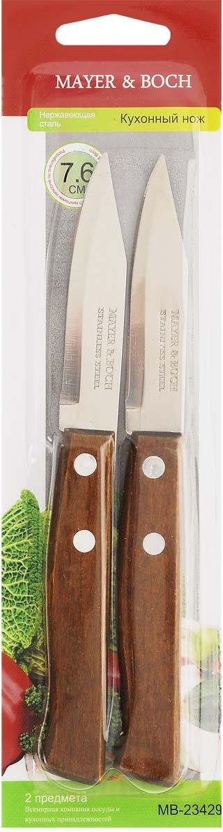"""Набор """"Mayer & Boch"""" включает в себя два прекрасных кухонных ножа для ежедневной резки фруктов, овощей и мяса. Ножи оснащены лезвиями из нержавеющей стали с гладкими, легко очищаемыми поверхностями. Специальный дизайн рукоятки из букового дерева обеспечивает комфортный и легко контролируемый захват. Практичный и функциональный набор ножей """"Mayer & Boch"""" займет достойное место среди аксессуаров на вашей кухне. Не используйте ножи на твердых поверхностях, таких как: камень, металл или стекло.Общая длина ножей: 17 см."""