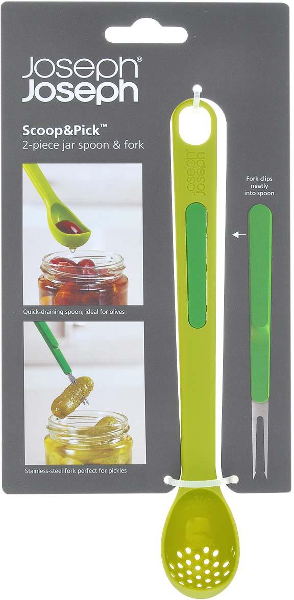 """Набор для солений Joseph Joseph """"Scoop"""" состоит из ложки с отверстиями и маленькой вилочки. Предметы набора выполнены из цветного пластика. Ложка и вилка для солений позволят легко достать из высокой банки продукты. Оба инструмента удобно соединяются друг с другом для компактного хранения.  Ложечка с отверстиями идеальна для оливок и маслин. Вилочка из нержавеющей стали прекрасно подходит для соленых огурчиков, грибов и других вкусностей.  Предметы набора можно мыть в посудомоечной машине.  Длина ложки: 20 см.  Длина вилки: 11 см."""