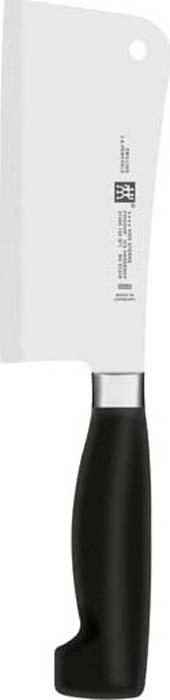 Изготовлен из высококачественной нержавеющей стали, рукоятка покрыта пластиком. Применяется для разрубания замороженного мяса и мяса с костями. Мыть теплой водой с применением жидкого моющего средства, вытирать насухо. Использовать специальную разделочную поверхность (деревянную или пластиковую).