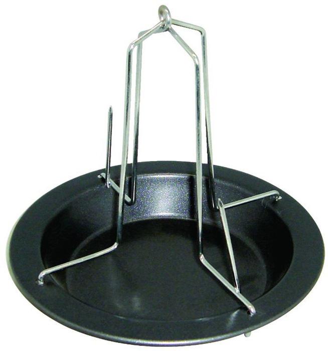 """Форма для птицы-гриль Regent Inox """"Easy"""" выполнена из высококачественной углеродистой стали и снабжена антипригарным керамическим покрытием, что обеспечивает форме прочность и долговечность. держатель обеспечивает равномерное пропекание курицы. Лишний жир стечёт в форму с антипригарным покрытием. Форма подходит для использования в духовке с максимальной температурой 250°С. Характеристики:  Материал: углеродистая сталь, керамика. Размер формы: 17 см х 17 см х 15,5 см. Размер упаковки: 17,5 см х 17,5 см х 4 см. Изготовитель: Италия. Артикул: 93-CS-EA-10-01."""