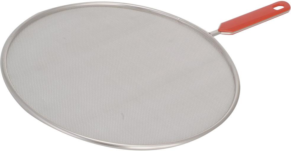 """Защита от брызг круглой формы Regent Inox """"Pronto"""" выполнена из высококачественной нержавеющей стали. Она представляет собой прочную стальную сетку на металлическом ободке. Изделие, оснащенное удобной пластиковой ручкой, станет надежной защитой от брызг во время приготовления пищи, в то же время конструкция полностью воздухопроницаемая. Характеристики:    Материал: нержавеющая сталь, пластик.  Диаметр: 28 см.  Цвет: серебристый, красный.  Артикул: 93-PRO-30-28."""