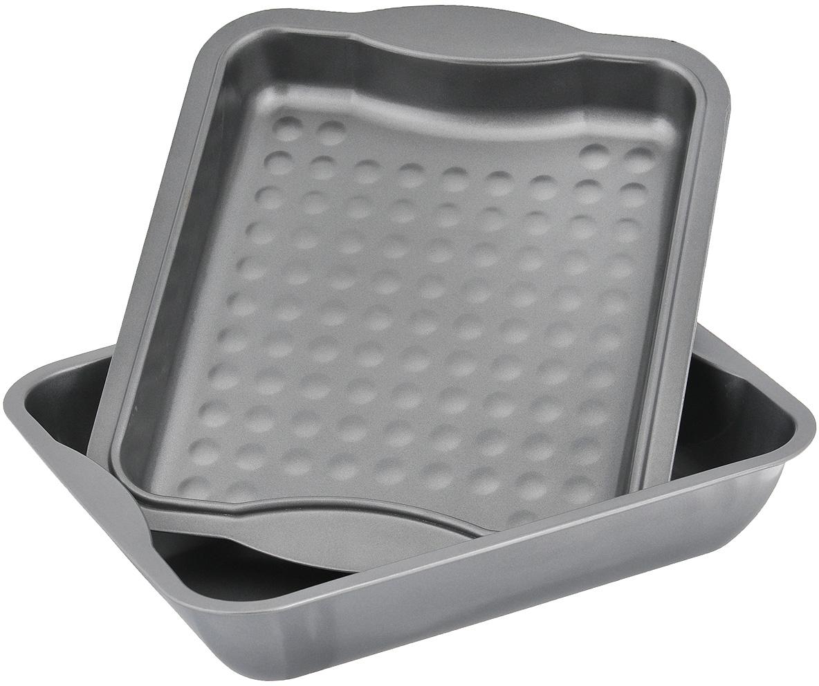 """Набор Mayer & Boch """"Unico"""" состоит из двух противней прямоугольной формы, выполненных из углеродистой стали. Благодаря антипригарному покрытию пища не прилипает и не пригорает; она приготавливается равномерно и принимает аппетитный внешний вид. Дно одного из противней рифленое.  Посуда легко чистится. Можно использовать в духовом шкафу."""