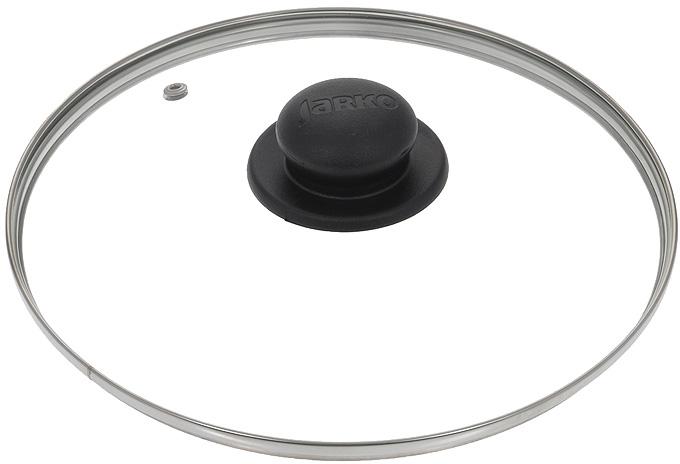 """Крышка """"Jarko"""", изготовленная из термостойкого стекла, позволяет контролировать процесс приготовления без потери тепла. Ободок из нержавеющей стали предотвращает сколы на стекле. Крышка оснащена отверстием для паровыпуска. Ненагревающаяся ручка выполнена из бакелита. Характеристики:  Материал: стекло, нержавеющая сталь, бакелит. Диаметр крышки: 24 см."""