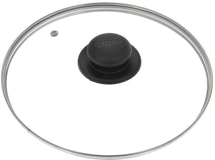 """Крышка """"Jarko"""", изготовленная из термостойкого стекла, позволяет контролировать процесс приготовления без потери тепла. Ободок из нержавеющей стали предотвращает сколы на стекле. Крышка оснащена отверстием для паровыпуска. Ненагревающаяся ручка выполнена из бакелита. Характеристики:  Материал: стекло, нержавеющая сталь, бакелит. Диаметр крышки: 28 см."""