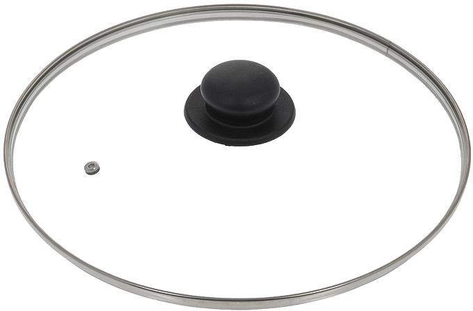 """Крышка """"Jarko"""", изготовленная из термостойкого стекла, позволяет контролировать процесс приготовления без потери тепла. Ободок из нержавеющей стали предотвращает сколы на стекле. Крышка оснащена отверстием для паровыпуска. Ненагревающаяся ручка выполнена из бакелита. Характеристики:  Материал: стекло, нержавеющая сталь, бакелит. Диаметр крышки: 30 см."""
