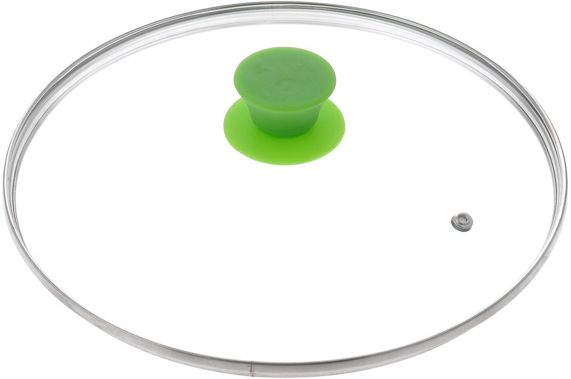 """Крышка Jarko """"Silk"""", изготовленная из термостойкого стекла, позволяет контролировать процесс приготовления пищи без потери тепла. Ободок из нержавеющей стали предотвращает сколы на стекле. Крышка оснащена пароотводом. Эргономичная силиконовая ручка не скользит в руках и не нагревается в процессе приготовления пищи."""