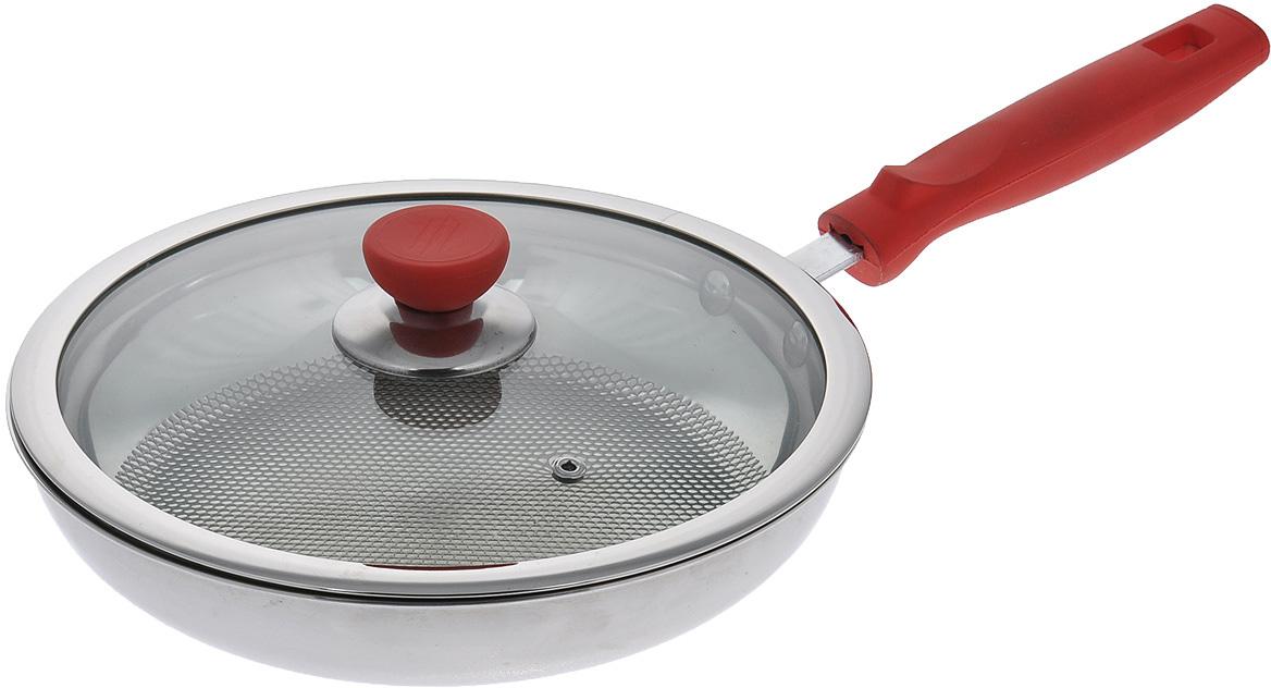 """Сковородка Bradex """"Мастер жарки"""" изготовлена из высококачественной нержавеющей стали с антипригарным покрытием, которой не страшны царапины или интенсивная чистка губками с высокой абразивностью. С такой сковородой приготовленная пища не прилипнет и не подгорит, даже если вы готовите без жира и масла. Секрет уникальности сковороды """"Мастер жарки"""" в том, что ее внутренняя поверхность состоит из около 900 бугорков, благодаря чему создается эффект воздушной подушки. Благодаря такой конструкции тепло равномерно циркулирует внутри сковороды, что препятствует подгоранию блюда и способствует его равномерному обжариванию. В комплект к сковороде прилагается крышка из прочного термостойкого стекла, которое не бьется и не трескается. На крышке имеется отверстие для терморегуляции, благодаря чему блюдо будет готовиться равномерно и избавит вас от лишних хлопот в процессе готовки. Сковорода имеет термостойкую ручку, которая позволит безопасно пользоваться сковородой. Подходит для газовых, электрических, керамических и индукционных плит. Можно мыть в посудомоечной машине."""