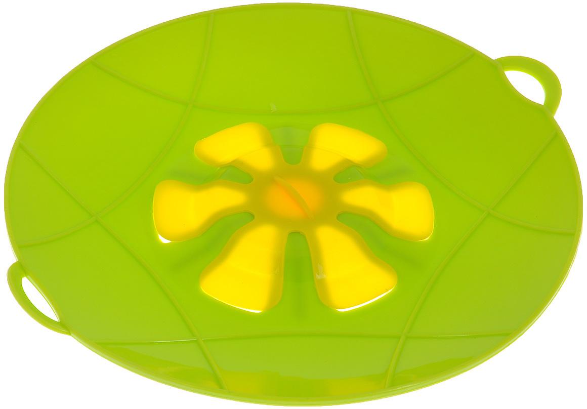 """Крышка силиконовая Bradex """"Невыкипайка"""" предназначена для предохранения готовящихся  продуктов от выкипания.  С такой крышкой у вас ничего не убежит и не выкипит, не останется брызг от раскаленного масла,  все останется в посуде и приготовится на максимально возможной температуре, сэкономив ваше  время и энергию.  Преимущества:  - Предотвращает от выкипания.  - Предотвращает беспорядок на кухне.  - Подходит для любой посуды диаметром до 29 см.  - Экономит время и энергию.  Можно использовать на плите, в духовом шкафу и микроволновой печи. Сохраняет свежесть  продуктов при хранении в холодильнике. Можно мыть в посудомоечной машине."""
