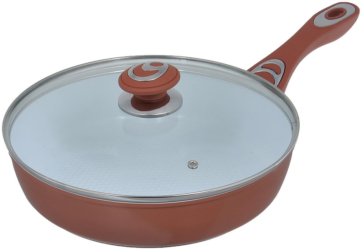"""Сковорода """"Bohmann"""" изготовлена из алюминия с износоустойчивым керамическим покрытием. Благодаря керамическому покрытию пища не пригорает и не прилипает к поверхности сковороды, что позволяет готовить с минимальным количеством масла. Кроме того, такое покрытие абсолютно безопасно для здоровья человека, так как не содержит вредной примеси PTFE. Рифленая внутренняя поверхность сковороды в виде сот обеспечивает быстрое и легкое приготовление. Достоинства керамического покрытия: - устойчивость к высоким температурам и резким перепадам температур, - устойчивость к царапающим кухонным принадлежностям и абразивным моющим средствам, - устойчивость к коррозии, - водоотталкивающий эффект, - покрытие способствует испарению воды во время готовки, - длительный срок службы, - безопасность для окружающей среды и человека. Внешнее покрытие - жаростойкий лак, который сохраняет цвет долгое время и обладает жироотталкивающими свойствами. Сковорода быстро разогревается, распределяя тепло по всей поверхности, что позволяет готовить в энергосберегающем режиме, значительно сокращая время, проведенное у плиты. Сковорода оснащена удобной ручкой, выполненной из бакелита с прорезиненным покрытием. Такая ручка не нагревается в процессе готовки и обеспечивает надежный хват. Крышка изготовлена из жаропрочного стекла, оснащена ручкой, отверстием для выпуска пара и металлическим ободом. Благодаря такой крышке можно следить за приготовлением пищи без потери тепла. Можно готовить на газовых, электрических, стеклокерамических, галогенных, индукционных плитах. Подходит для чистки в посудомоечной машине."""
