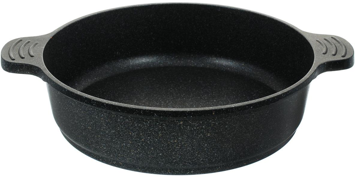 """Сотейник Steel Way """"Martina"""" изготовлен из литого алюминия с   уникальным пятислойным мраморным покрытием на основе нанокомпозитов.   Мраморное   покрытие делает возможным приготовление блюд без масла, сохраняет витамины   и питательные вещества. Благодаря свойствам материала   корпуса и его толщине пища не пригорает, нагревание происходит равномерно и   быстро, сокращается время приготовления. Покрытие устойчиво к царапинам и   легко моется. Гладкая, идеально ровная поверхность сотейника легко   чистится, его можно мыть в воде руками или вытирать полотенцем. Сотейник   оснащен двумя   литыми ручками, удобными в эксплуатации.  Подходит для всех видов плит, кроме индукционных. Можно мыть в   посудомоечной машине.   Высота стенки: 8 см.Ширина (с учетом ручек): 37 см.Толщина стенки: 4 мм.Толщина дна: 5 мм.Объем: 4 л."""
