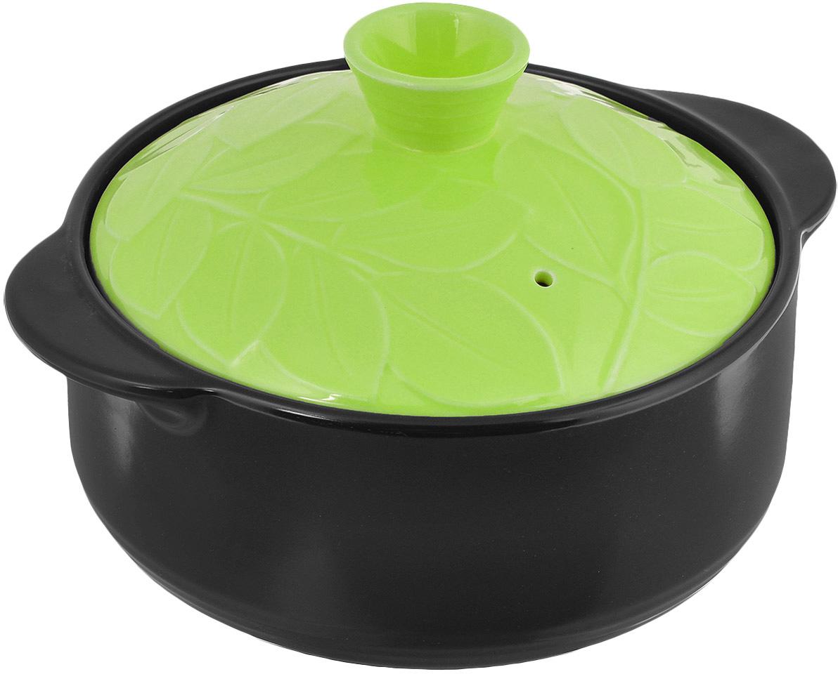 Кастрюля керамическая Hans & Gretchen с крышкой, цвет: зеленый, 2,2 л кастрюля для запекания bayerhoff с крышкой в плетеной корзине керамическая диаметр 25 5 см bh 174