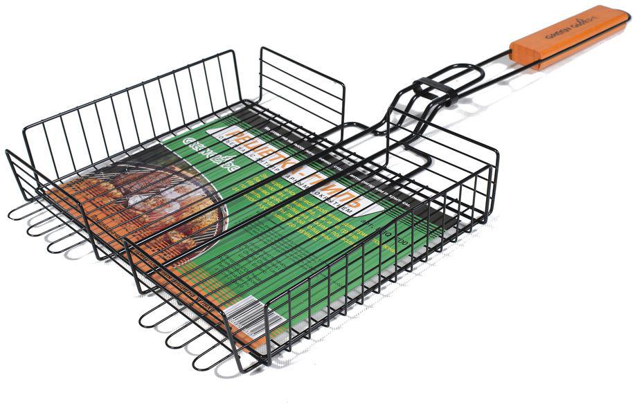 """Двойная объемная решетка-гриль """"Green Glade"""" изготовлена из высококачественной нержавеющей стали с антипригарным покрытием. Это идеальное приспособление для приготовления барбекю как на мангале, так и на гриле. На решетке удобно размещать стейки, ребрышки, сосиски и т.д. Изменяющаяся толщина зажима позволяет готовить продукты любой толщины: от тонкого куска мяса до курицы.  Предназначена для приготовления пищи на углях. Блюда получаются сочными, ароматными, с аппетитной специфической корочкой.  Рукоятка изделия оснащена деревянной вставкой и фиксирующей скобой, которая зажимает створки решетки.  Размер рабочей поверхности решетки: 31 см х 25 см.  Общая длина решетки (с ручкой): 65 см.  Высота стенки решетки: 5,5 см."""