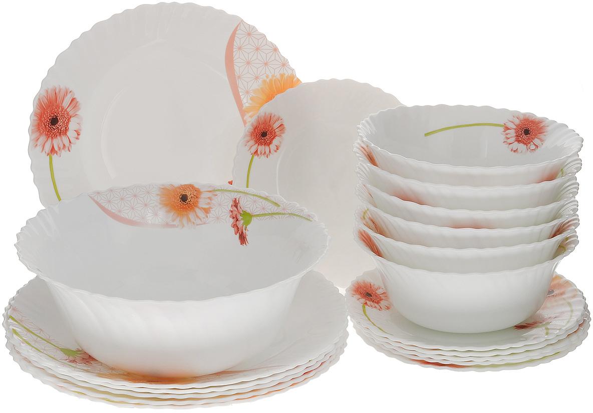 """Набор столовой посуды """"Mayer & Boch"""" выполнен из стекла высокого качества и  состоит из 12 плоских и 7 глубоких тарелок разных диаметров. Изделия оформлены  изящным цветочным рисунком и волнистыми краями. Столовый набор """"Mayer &  Boch"""" сочетает в себе изысканный дизайн с максимальной функциональностью.  В набор входит:  - 6 круглых плоских тарелок - 19 см х 19 см х 1,5 см;  - 6 круглых плоских тарелок - 25,4 см х 25,4 см 2,5 см;  - 6 круглых глубоких тарелок - 17,8 см х 17,8 см х 7 см;  - 1 круглая глубокая тарелка - 22,9 см х 22,9 см х 9 см.   Такой набор будет уместен на любой кухне и прекрасно подойдет для сервировки  праздничного стола, а также станет приятным подарком родным и близким людям. Тарелки можно мыть в посудомоечной машине и держать в холодильнике. Не использовать на газовых плитах и открытом огне!"""