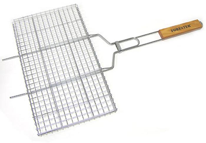 """Предлагаемая вашему вниманию решетка-гриль """"Forester"""" предназначена для запекания мяса, птицы, рыбы, овощей на углях. Решетка изготовлена из высококачественной стали с пищевым никелированным покрытием. Особая конструкция решетки со специальными усиками позволит вам удобно расположить на барбекю или мангале. Решетка-гриль оснащена удобными деревянными ручками. Характеристики: Артикль:  BQ-N02. Материал: сталь. Размер решетки: 26 см х 45 см.   FORESTER    - брэнд с широкими интернациональными традициями и в этом секрет его успеха.   FORESTER    впитал в себя самое лучшее из созданного предшественниками, поэтому продукция фирмы - это все самое качественное для вашего пикника!  Разработано компанией """"Ruyan Co"""", Германия."""