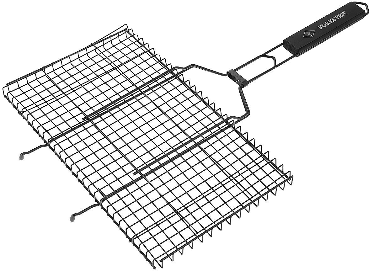 """Универсальная решетка-гриль """"Forester"""" изготовлена из высококачественной стали с антипригарным покрытием. На решетке удобно размещать стейки, ребрышки, гамбургеры, сосиски, рыбу, овощи. Предназначена для приготовления пищи на углях. Блюда получаются сочными, ароматными, с аппетитной специфической корочкой.  Рукоятка изделия оснащена деревянной вставкой и фиксирующей скобой, которая зажимает створки решетки.  Размер рабочей поверхности решетки (без учета усиков): 45 см х 25 см.                                                                                                                                              Общая длина решетки (с ручкой): 69 см."""