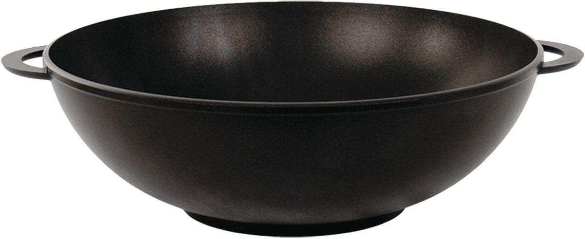 """Сковорода-вок """"Биол"""" изготовлена из пищевого алюминиевого сплава с антипригарным покрытием. Утолщенное дно такой посуды быстро и равномерно распределяет тепло. Алюминий не содержит вредных примесей ПФОК, что способствует здоровому и экологичному приготовлению пищи. Изделие оснащено двумя ручками для удобной переноски.Подходит для газовых, электрических и стеклокерамических плит. Не подходит для индукционной. Можно мыть в посудомоечной машине. Диаметр: 30 см.Высота стенки: 10,3 см.Ширина (с учетом ручек): 36,5 см."""