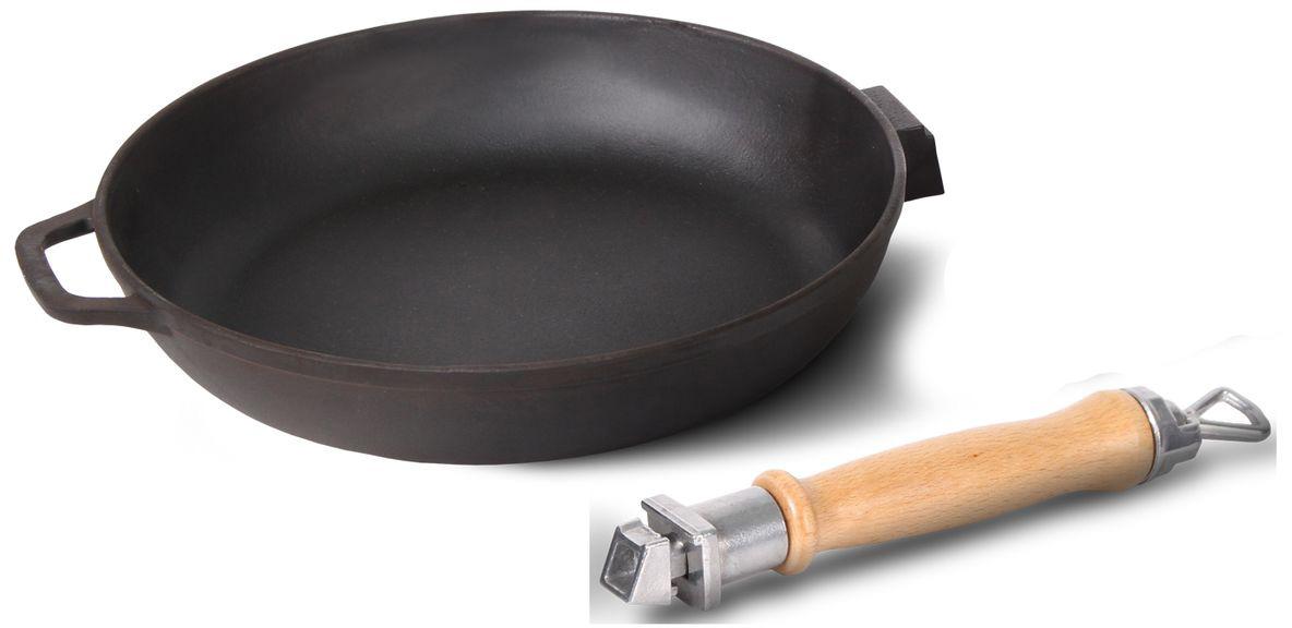 Сковорода чугунная, диаметр 22 см со съемной ручкой без крышки БИОЛ