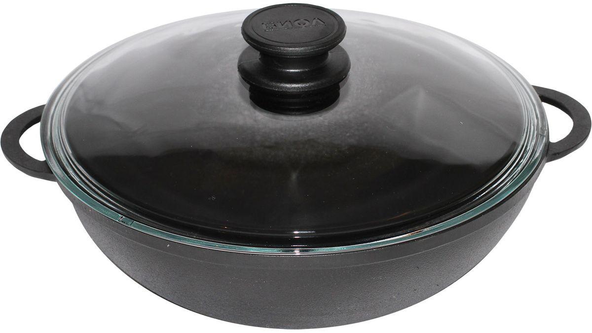 """Сковорода-вок """"БИОЛ подходит для индукционных, стеклокерамических, газовых и электрических плит. Подходит для использования в духовке.   Возможно использование металлических (не острых!) аксессуаров для перемешивания: ложки, лопатки и т.д.  Сковорода из чугуна неприхотлива в уходе, но в тоже время является одной из самых долговечных по сроку использования. Оригинальная стеклянная крышка от производителя в комплекте.  Диаметр 28 см."""