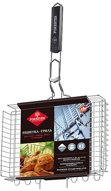 """Решетка-гриль """"Forester"""" изготовлена из стали с коррозионностойким покрытием, обеспечивающим долгий срок службы и имеет деревянную вставку на ручке, предохраняющая руки от ожогов и позволяющая без труда перевернуть решетку. Надежное кольцо-фиксатор гарантирует, что решетка не откроется, и продукты не выпадут. Решетка-гриль предназначена для запекания мяса, птицы, рыбы и овощей.   Характеристики: Материал: сталь, дерево, пластик. Размер рабочей поверхности:  26 см х 38 см х 6 см. Длина ручки: 31 см. Изготовитель: Китай. Артикул: BQ-N03. FORESTER - бренд с широкими интернациональными традициями и в этом секрет его успеха.  FORESTER впитал в себя самое лучшее из созданного предшественниками, поэтому продукция фирмы - это все самое качественное  для вашего пикника!  Разработано компанией """"Ruyan Co"""", Германия."""