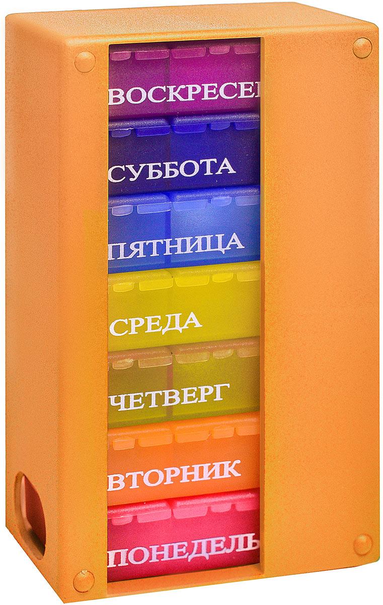Контейнер для таблеток Таблетон Мультибокс 3, на 7 дней по 3 приема в день, цвет: оранжевый, 8,5 х 14 х 4,5 см кеторол 10мг 20 таблетки