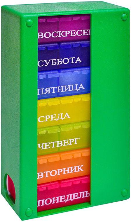 Контейнер для таблеток Таблетон Мультибокс 3, на 7 дней по 3 приема в день, цвет: зеленый, 8,5 х 14 х 4,5 см контейнер для таблеток таблетон мини 3 на 3 приема в день цвет зеленый 8 х 4 х 2 см