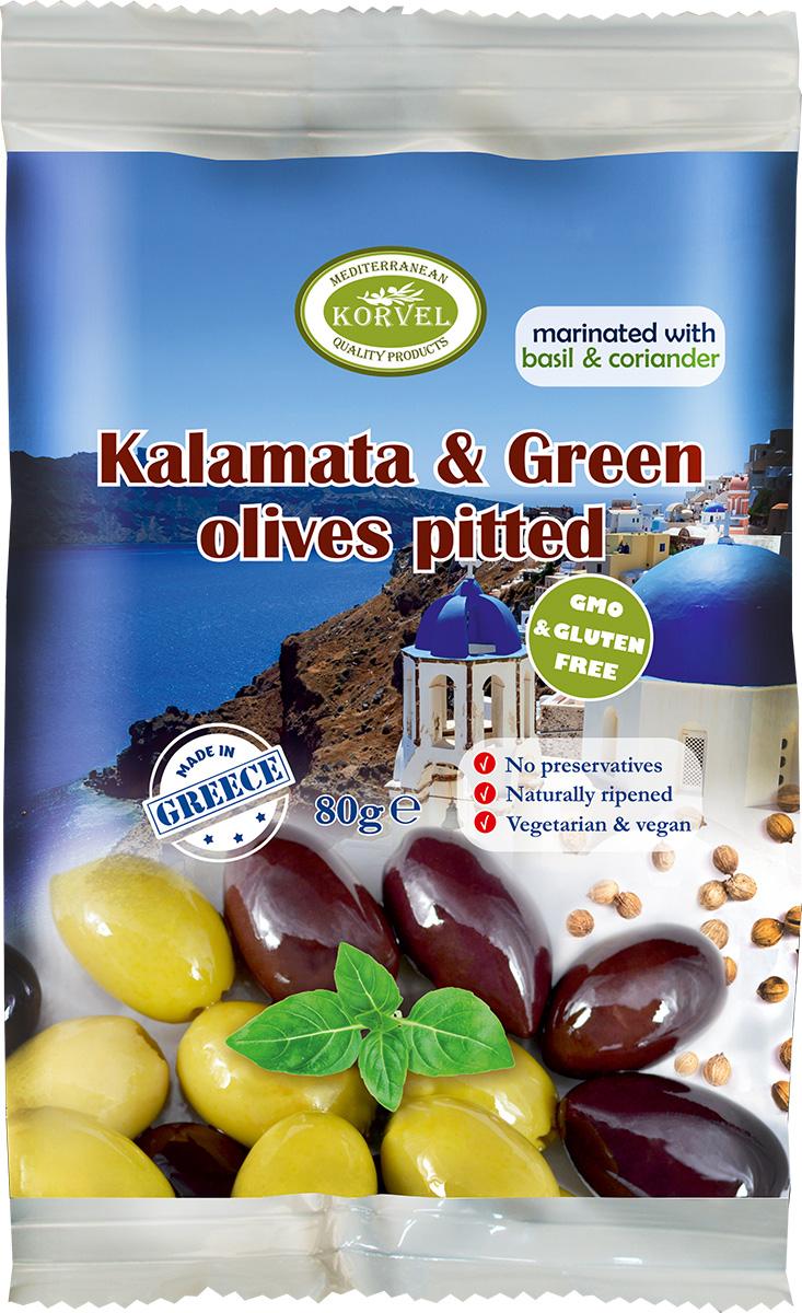 Korvel маринованные оливки микс зеленые и каламата без косточки с базиликом и кориандром Джамбо, 80 г korvel натуральные зеленые оливки фаршированные чесноком колоссал 290 г