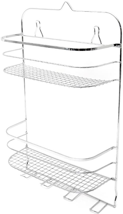 """Полка для ванной комнаты """"Verran"""" - 2-ярусная вместительная полка с крючками для мочалок — отличное решение для ванной комнаты.  Изделие выполнено из нержавеющей стали, не боится влажного воздуха и прямого контакта с водой. Оно будет служить много лет, не теряя эстетичного внешнего вида. Дизайн модели позволяет ей естественным образом вписаться в интерьер любой ванной комнаты, оформленной в современном стиле. Благодаря продуманной конструкции полка не займет много места, зато вместит множество мелочей, которые всегда должны находиться под рукой."""