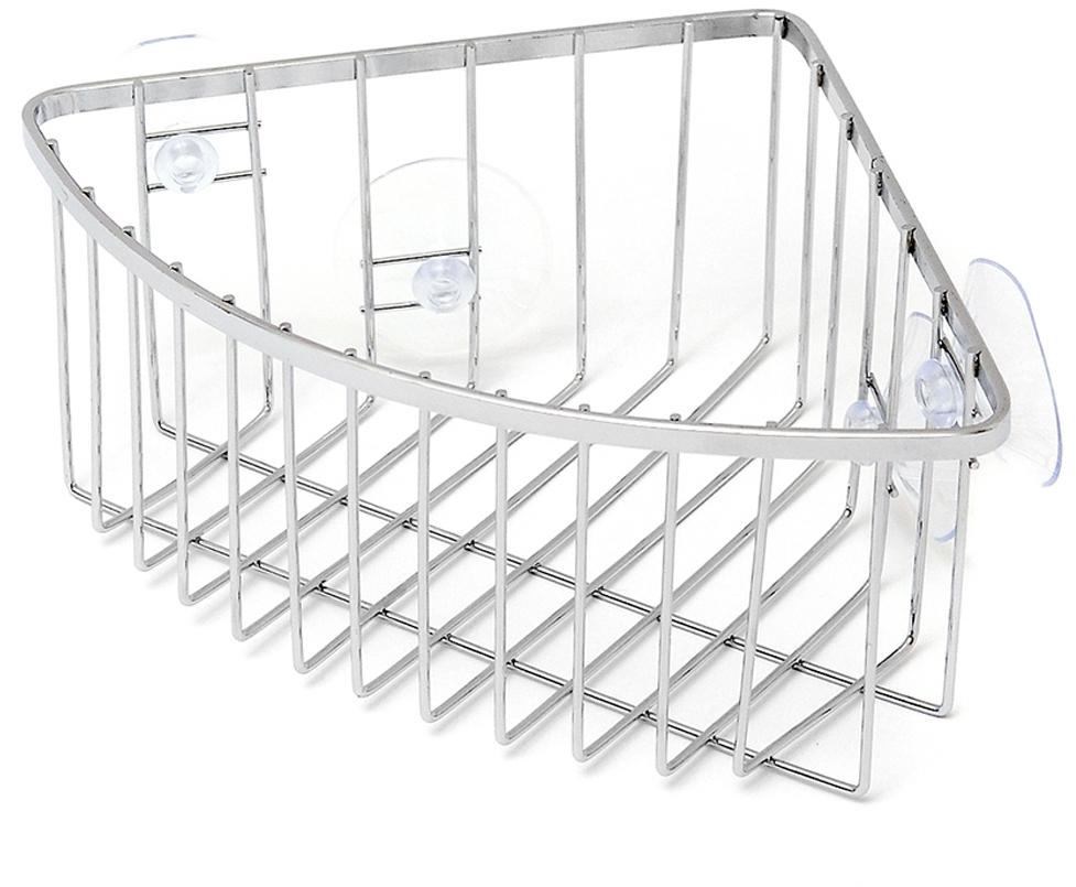 """Угловая полка """"Verran"""" изготовлена из высококачественного металла с хромированным покрытием.  Полка отлично подойдет для хранения различных ванных принадлежностей. Она впишется практически в любой интерьер и поможет эффективно организовать пространство. Изделие крепится с помощью присосок."""