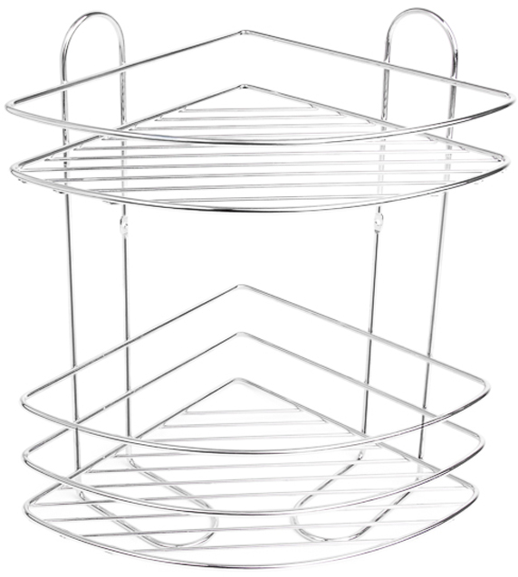 """Угловая 2-ярусная полка """"Verran"""" изготовлена из высококачественного металла с хромированным покрытием.  Полка отлично подойдет для хранения различных ванных принадлежностей. Она впишется практически в любой интерьер и поможет эффективно организовать пространство."""