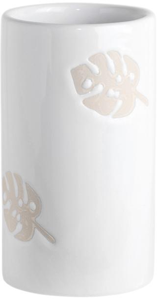 Стакан для зубных щеток с объемным декором в виде листьев монстеры. Нежная палитра молочно-белого и песочного. Серия Lopo создаст хороший контраст на фоне ярких и насыщенных зеленых оттенков, что так уместны в тропическом стиле. Детали Разная текстура предмета: глянцевая основа, матовый декор Объемный рисунок Фигурный разделитель  Для ухода использовать мягкую салфетку, щадящее моющее средство
