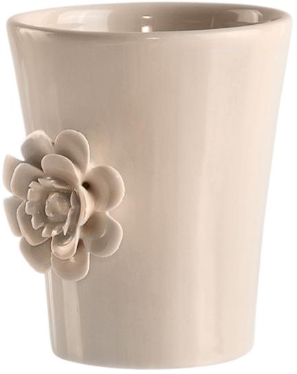 Стакан с декоративной лепниной из тонкостенной керамики в форме цветка. Из-за тонкости материала при запекании цветок приобретает свою окончательную форму и она всегда будет уникальна. Вы точно не найдете двух одинаковых цветов.ДеталиГлянцевая поверхность стаканаОбъемный рисунок Для ухода использовать мягкую салфетку, щадящее моющее средство
