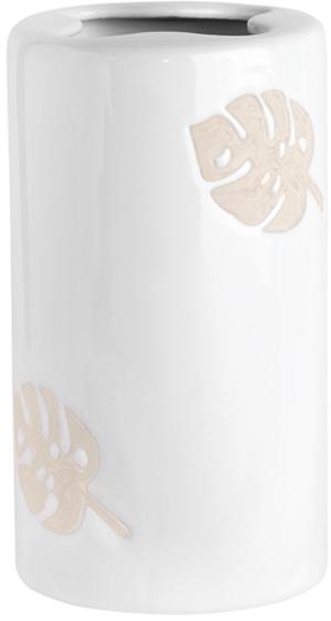 Стакан с разделителем и объемным декором в виде листьев монстеры. Нежная палитра молочно-белого и песочного. Серия Lopo создаст хороший контраст на фоне ярких и насыщенных зеленых оттенков, что так уместны в тропическом стиле.ДеталиРазная текстура предмета: глянцевая основа, матовый декорОбъемный рисунокФигурный разделитель Для ухода использовать мягкую салфетку, щадящее моющее средство